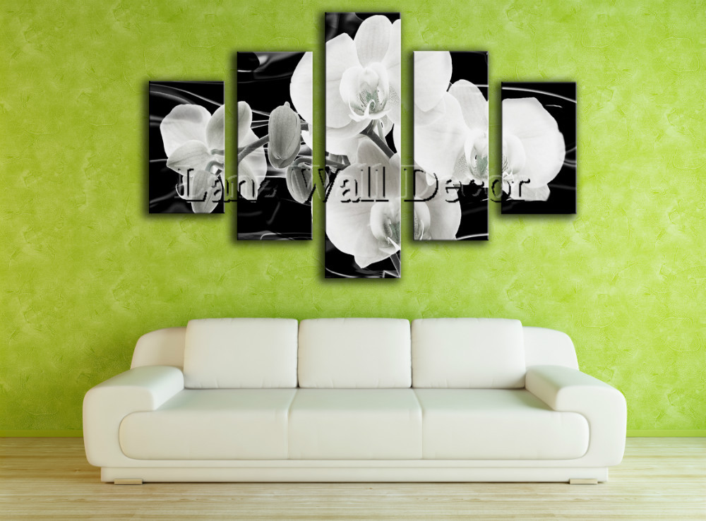 No wooden frame gift art canvas painting Black and white flowers home decoration wall pictures for living room(China (Mainland))