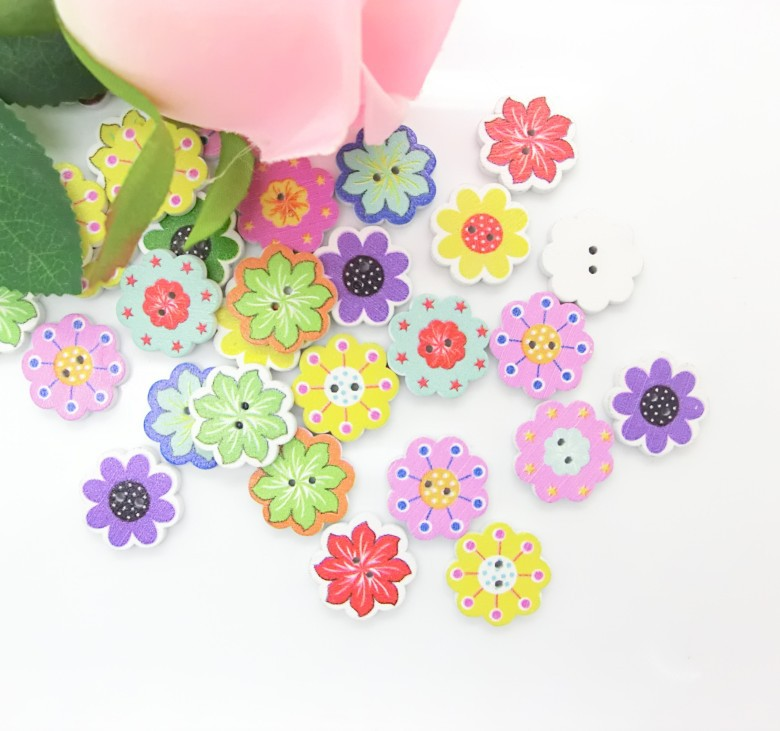 - 10Mixed Flowers 2 Holes Pattern Wood Sewing Buttons Scrapbooking 20mm J1507 Lovely store