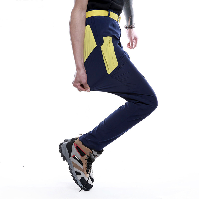 Fashion Outdoor Pants Men Elastic Riding Hiking Trekking Pants Quick Dry Breathable Thin Male Trousers Color Splicing Summer