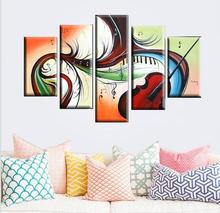 Artist Hand-painted High Quality Modern Abstract Musical Instrument Oil Painting On Canvas Abstract Piano and Violin Painting(China (Mainland))