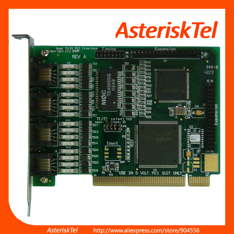 Quad Span E1 T1 Card TE405 Asterisk Card TE405P ISDN PRI PCI E1 Digium wildcard(China (Mainland))