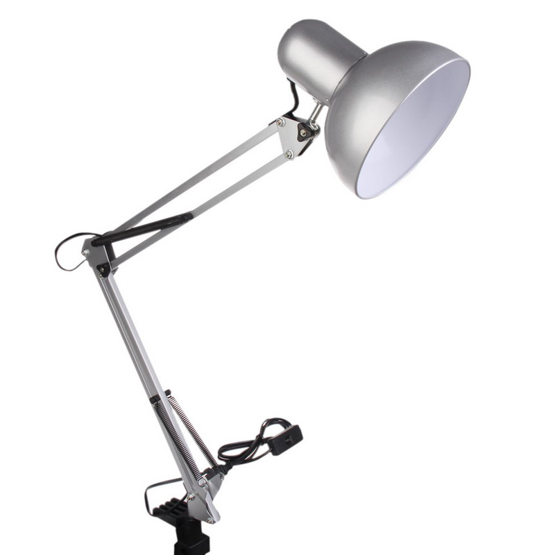 90-240V Silver Adjustable Swing Arm Drafting Design Office Studio Clamp Table Desk Lamp Light for home or office used(China (Mainland))