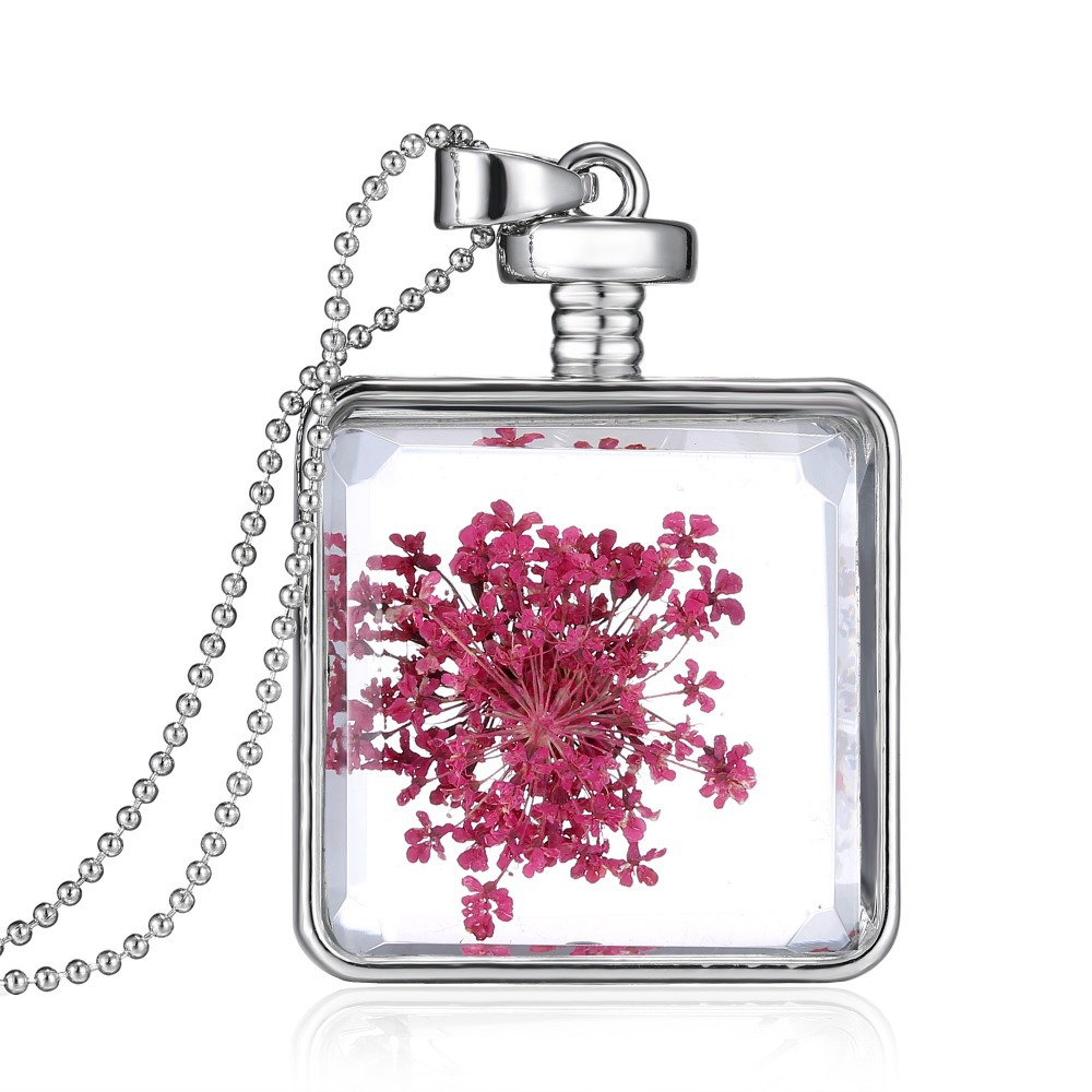 2015 real dry flower glass bottle necklace silver square bottle pendant wishing necklace fashion necklaces jewelry for women(China (Mainland))