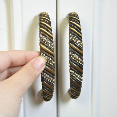 96mm vintage crystal drawer cabinet handle pull bronze dresser cupboard door pull knob antique brass furniture hardware handles