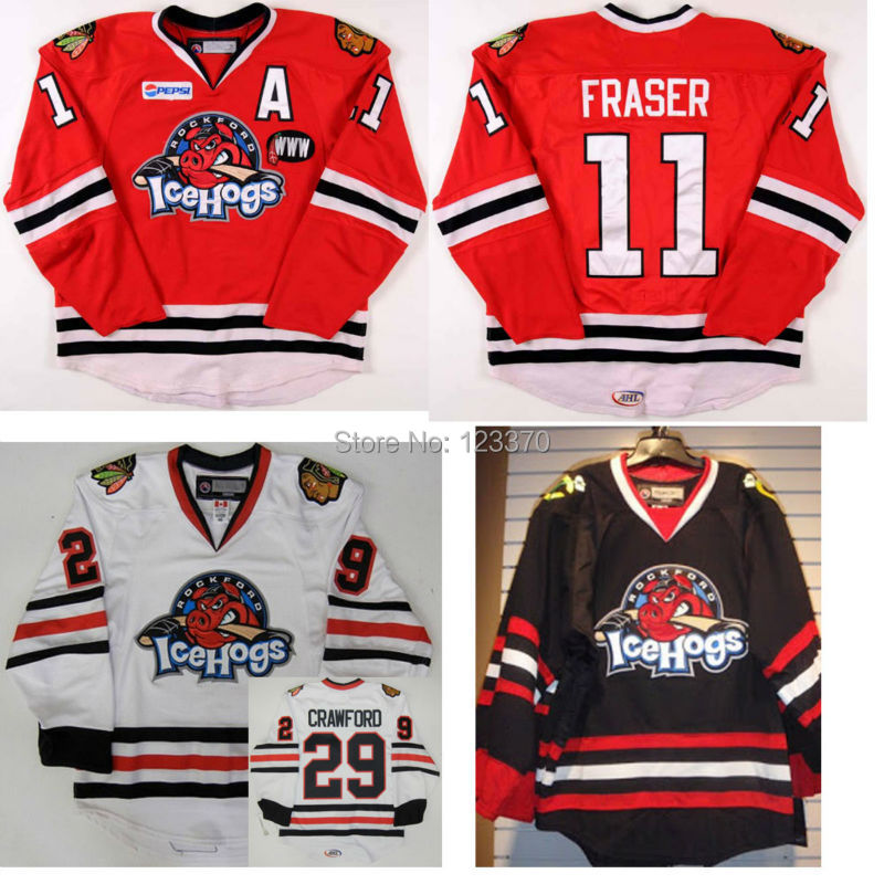 custom Corey Crawford Hockey Jersey 29# ICE Hockey Rockford IceHogs Jerseys Game Worn Black/white chicago blackhawk jerseys<br><br>Aliexpress