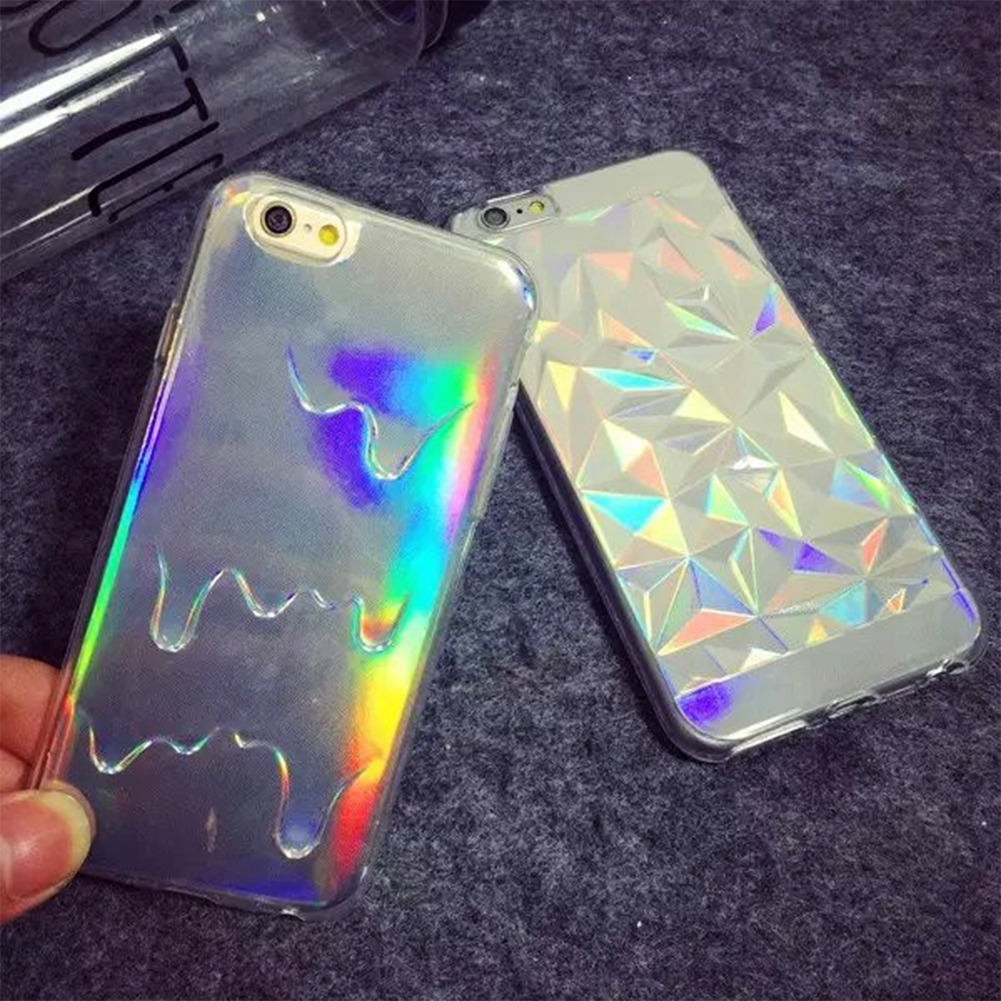 Unique Laser Style Rainbow Color 3D Diamond/3D Melting Pattern Mobile Phone Protection Cover For iPhone 6/6S For iPhone 6 Plus(China (Mainland))