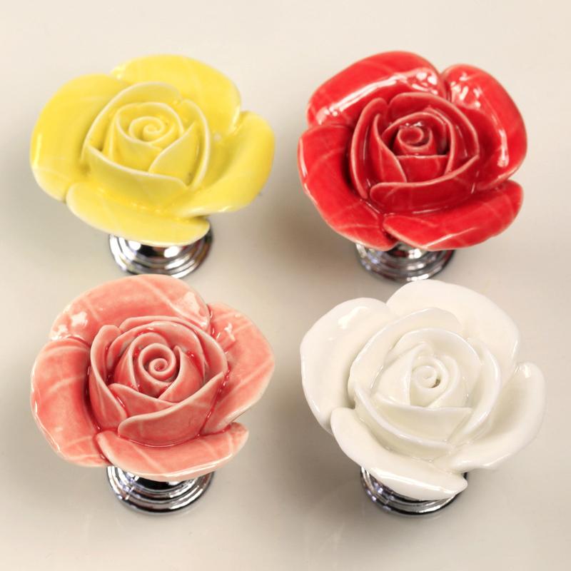 Ceramic Rose Furniture Handles Chrome Base Cabinet Knobs Wardrobe Drawer Colset Dresser Pulls Furniture porcelain handles(China (Mainland))