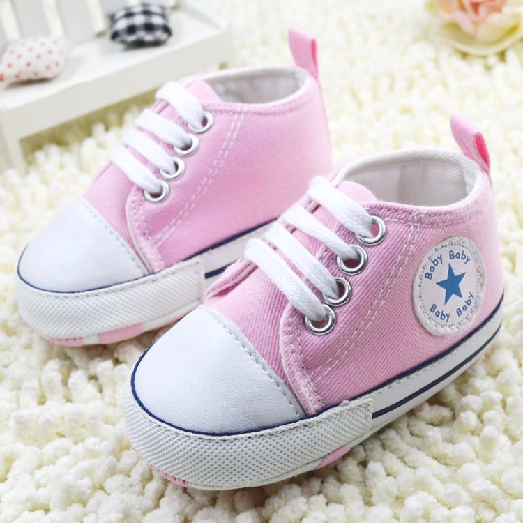 New Infant Toddler Newborn Baby Shoes Unisex Kids Classic Sports Sneakers Bebe Soft Bottom Anti-slip T-tied Shoes 6Colors 3Size