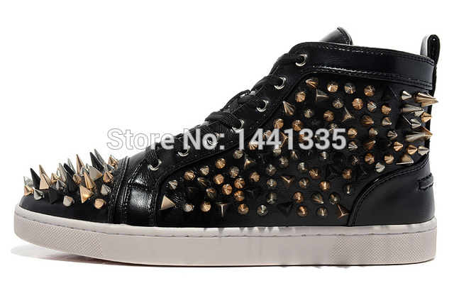 2015 red sole boot running shoes new fashion sneakers high quality spikes and red bottom men shoes ankle boots rivets shoes(China (Mainland))