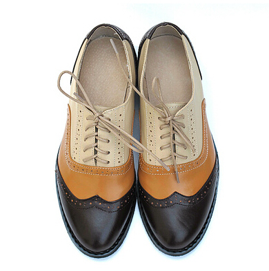 Фотография New 19 Style Zapatos Hombre oxford Shoes For Women Lace Up Color Block Decoration Vintage Leather Casual Brogue Shoes US 10.5