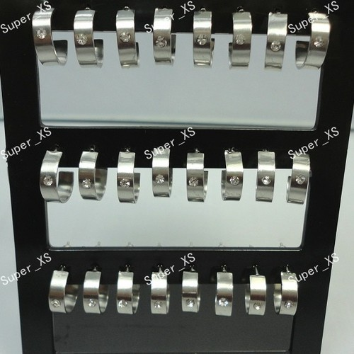 24pcs 1sets wholesale jewelry lots Top stainless steel Rhinestone Stud Earrings free shipping LR375S(China (Mainland))