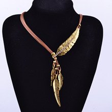 Buy 2016 Fashion Bohemian Style Feather Pattern Black Rope Chain Pendant Necklace Ms. Necklace Fine Jewelry Collares Statement for $3.15 in AliExpress store