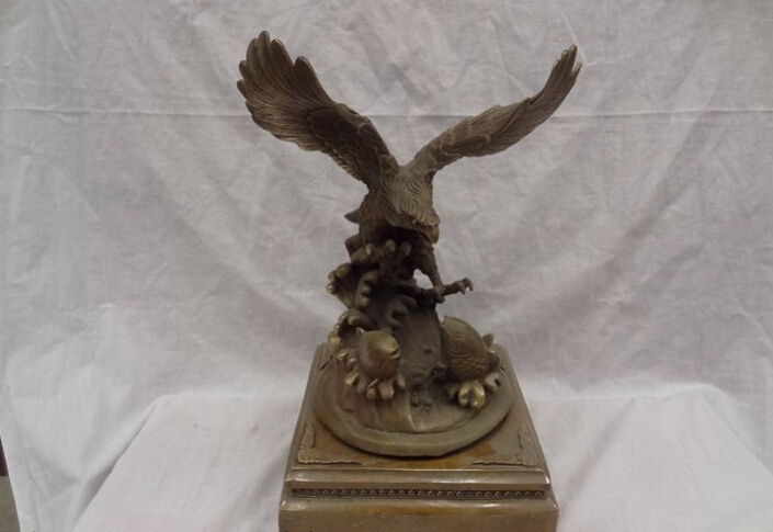 "Collectible bronze S1201 15"" Chinese Bronze Grand Prospect Wealth Eagle Hawk Catch Fish Statue Sculpture(China (Mainland))"