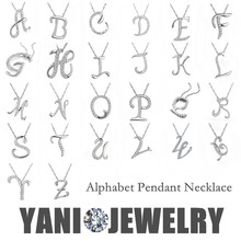 Free Shipping Silver Letter A B C D E F G H I J K L M N O P Q I S T U V W X Y Z Pendant Necklace Chain Statement Necklace(China (Mainland))