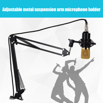 Professional Adjustable Metal Suspension Scissor Arm Microphone Stand Holder for Mounting on PC Laptop Notebook Black