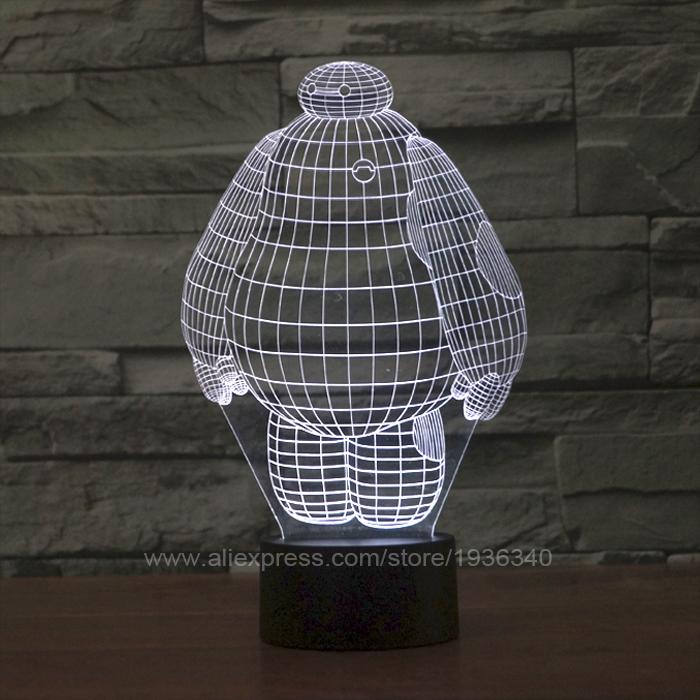 Free Shipping 3D DECOR big hero baymax shape 3D illusion LED Night Light lamp magical led mood light for kids 3D044(China (Mainland))