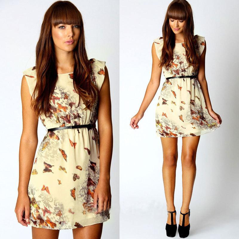 The new 2015 Europe and the United States women's clothing Chiffon iris dress(China (Mainland))