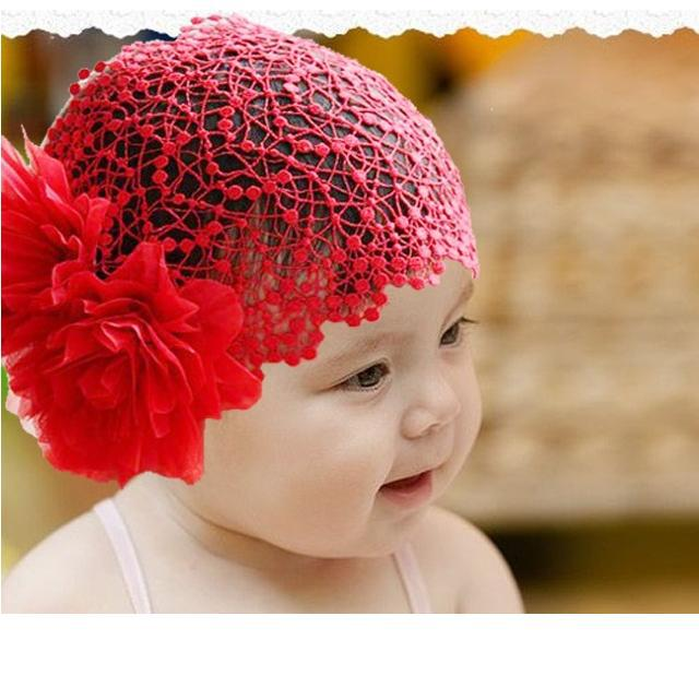 elastic baby headwear flower Headband for Girls NET hair bands red pink(China (Mainland))