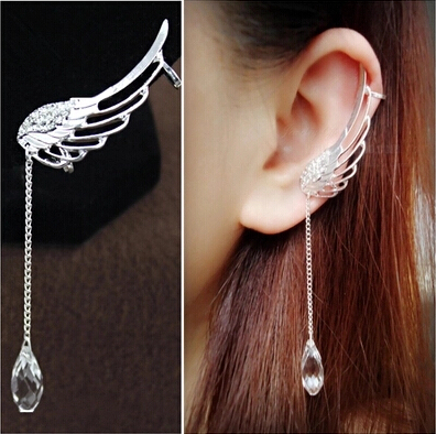 Angel Wing Silver Plated Crystal Chain Drop Dangle Ear Cuff Clip Earrings(China (Mainland))