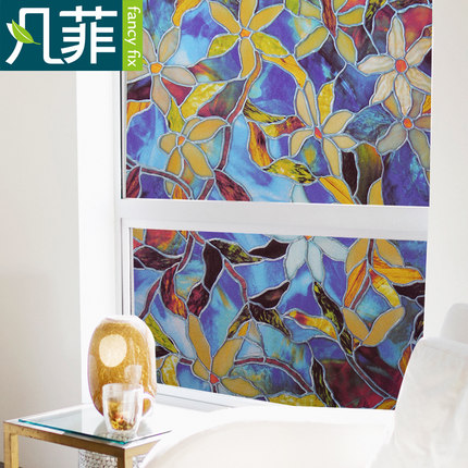 Without glue european-style sticker printing electrostatic toilet glass pervious to light opaque bedroom window is prevented -58(China (Mainland))