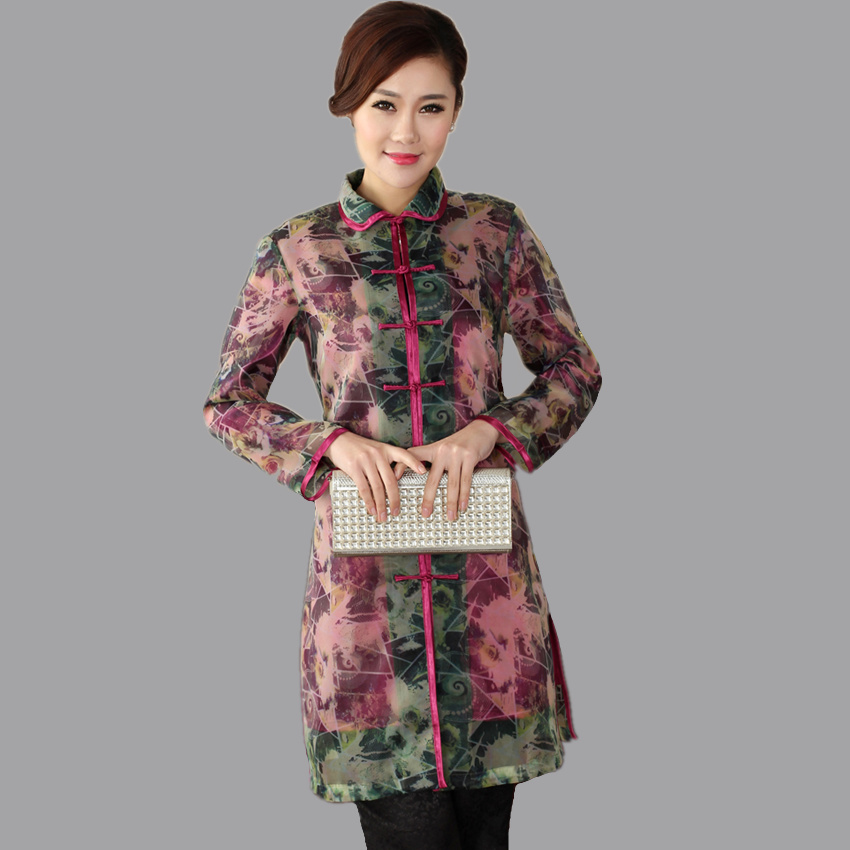 Womens Long Jacket Traditional Chinese style sleeve Coat Flowers Mujer Chaqueta Size S M L XL XXL XXXL Mny006A
