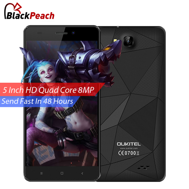Oukitel C3 Mobile Phone 5 Inch HD 1280x720 IPS MTK6580 Quad Core Android 6.0 1GB RAM 8GB ROM 8MP Cam Dual Sim 3G Smartphone