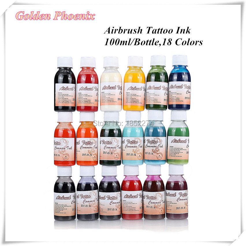 18  Bottles/Set Golden Phoenix 100ml/Bottle Airbrush Tattoo Makeup Ink For Temporary Body Art Paint Free Shipping<br><br>Aliexpress