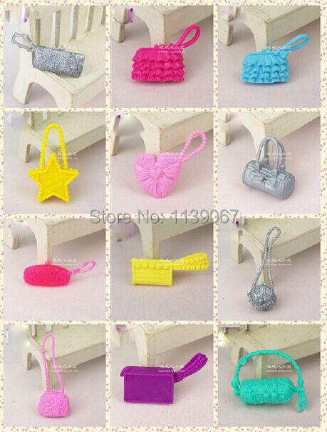 10pcs/lot Doll Plastic Shoulder Baggage Purse toy Combine Fashion Equipment For Barbie Kurhn Doll Women Birthday Reward Fake Play