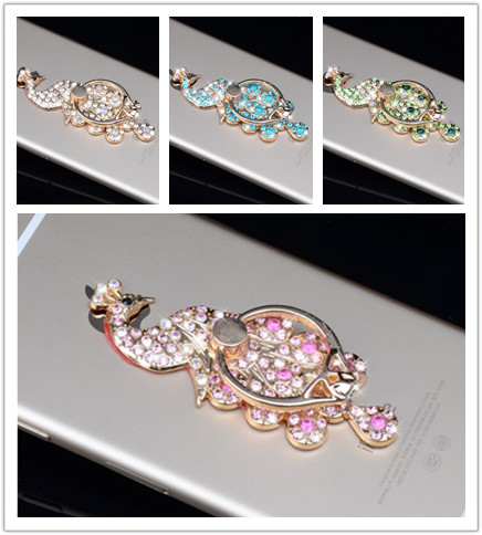 Cell Phone Case Charms Alloy Ring Stand Finger Bracket Decoration Rhinestones Peacock Mobile Phone Holder For iPhone For Samsung(China (Mainland))