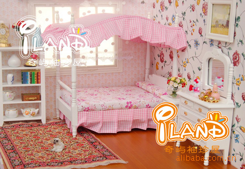 1:12 Miniature  Doll House Set Wooden Furniture  Accessories Mini pink princess bedroom furniture  Bed + 2 cabinet Dollhouse Toy<br><br>Aliexpress