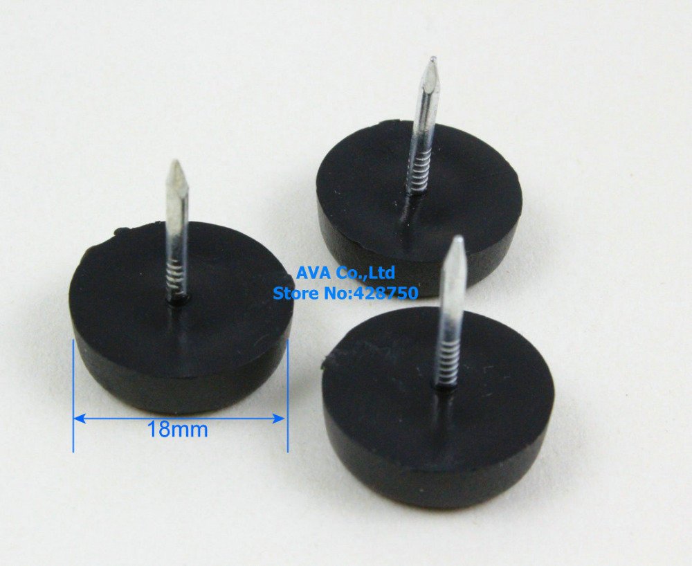 Buy 18mm nylon furniture chair nail feet glides feet bottom protect black - Threaded furniture feet ...