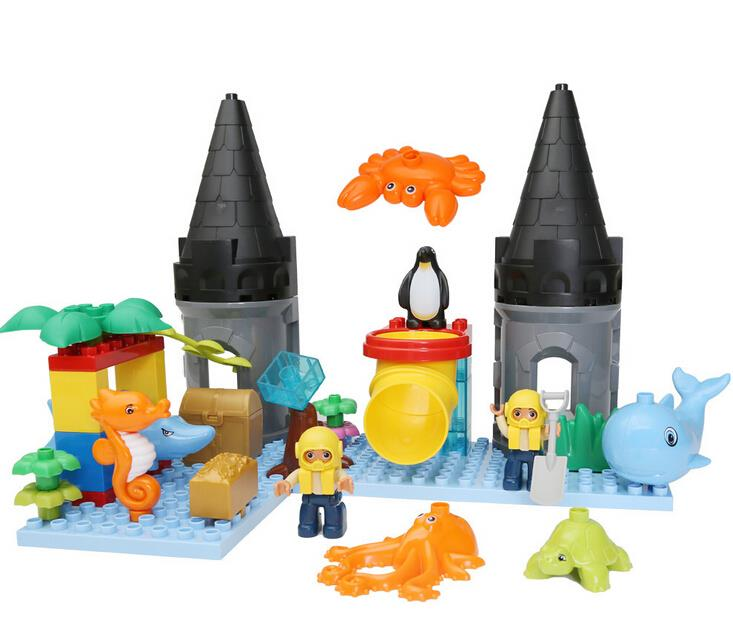 Large Size Castle undersea animal world Building Blocks Duplos 41pcs Classic Toys Educational Baby Toy Gifts Legoelieds<br><br>Aliexpress