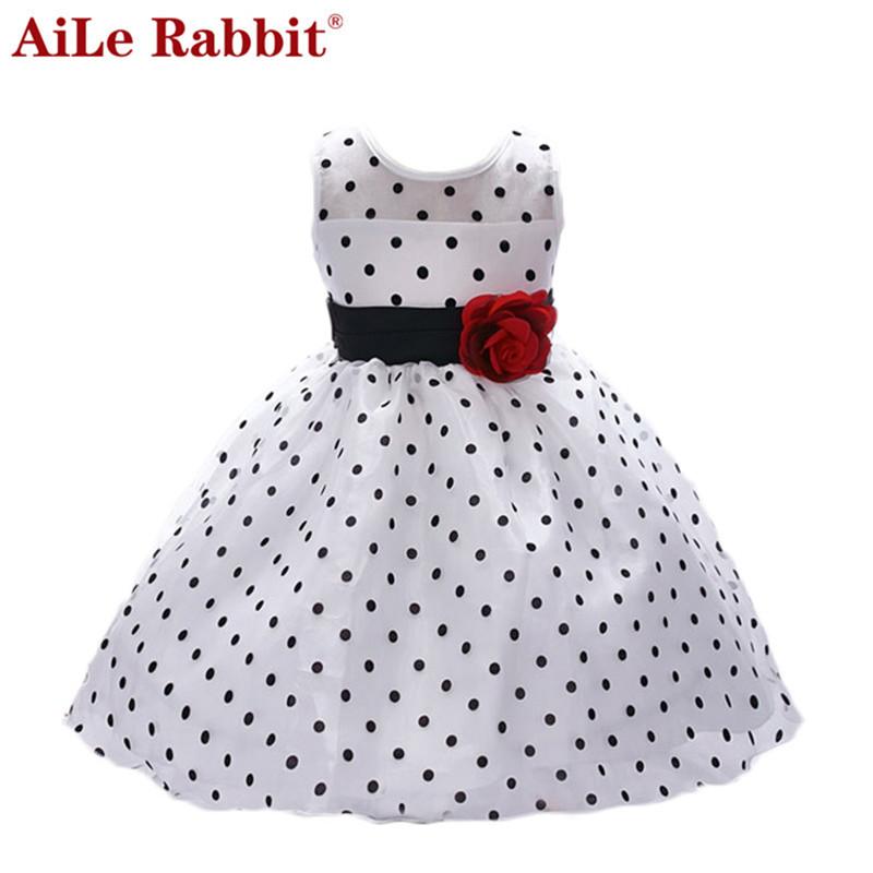 AiLe Rabbit New Arrival 2017 Princess Summer Girl Dress Classic White Black Polka Dots Children Dancing Dresses For Little Girl(China (Mainland))
