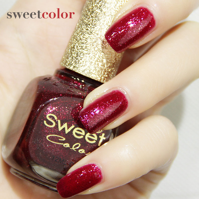 Wine Colored Nail Polish: Sweet Color 12ml Nontoxic Nails Polish Glitter Wine Red