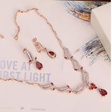 S212159 Elegant Crystal Red zircon Set Zinc Alloy 18K Imitation Rhodium Rose Gold Plated With CZ Austria crystal Fashion Jewelry(China (Mainland))