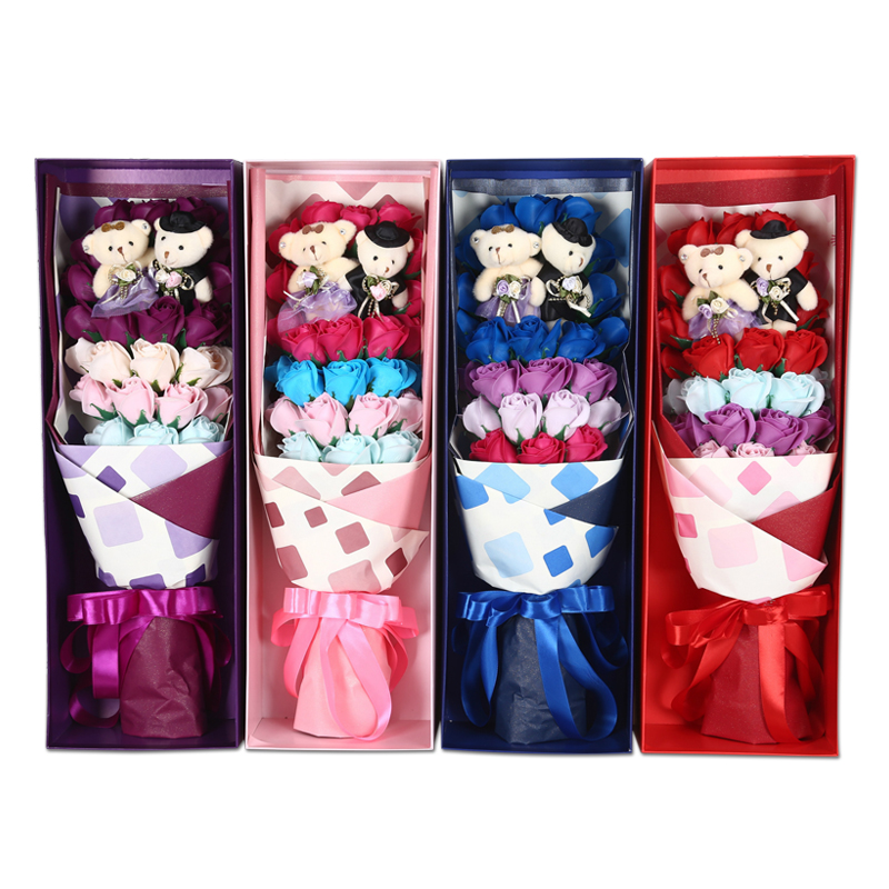 Artificial Flower Christmas Home Decoration soap Rose+1 pair toy bears with box Romantic Bouquet Valentine Wedding Birthday Gift(China (Mainland))