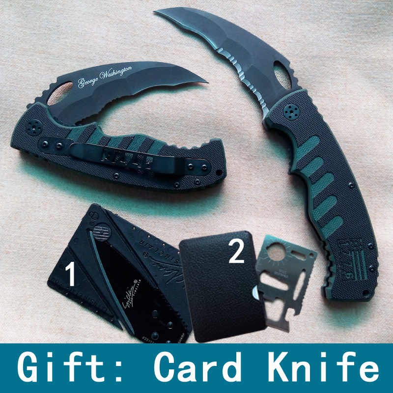 Top quality Folding Blade Survival Tooth knife 56HRC Steel Hunting knives Outdoor Camping Knife Gift card knife Drop-shipping(China (Mainland))