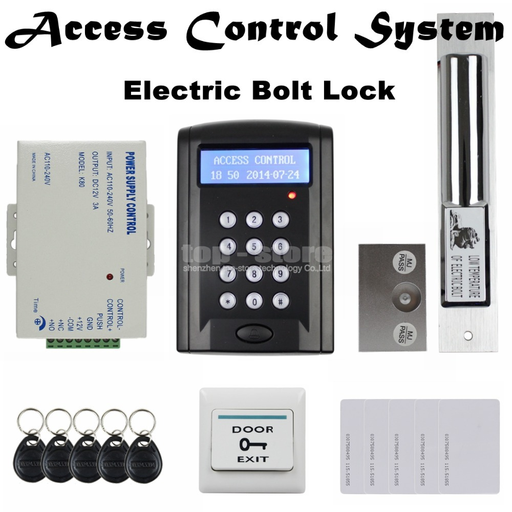 LCD 125KHz RFID Reader Password Keypad Access Control Door Lock System Kit + Electric Bolt Lock Security System BC200(China (Mainland))
