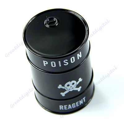 G104 Free Shipping New Skull Pattern Oil Drum Shaped Double Layers Herb Tobacco Cigarette Grinder(China (Mainland))