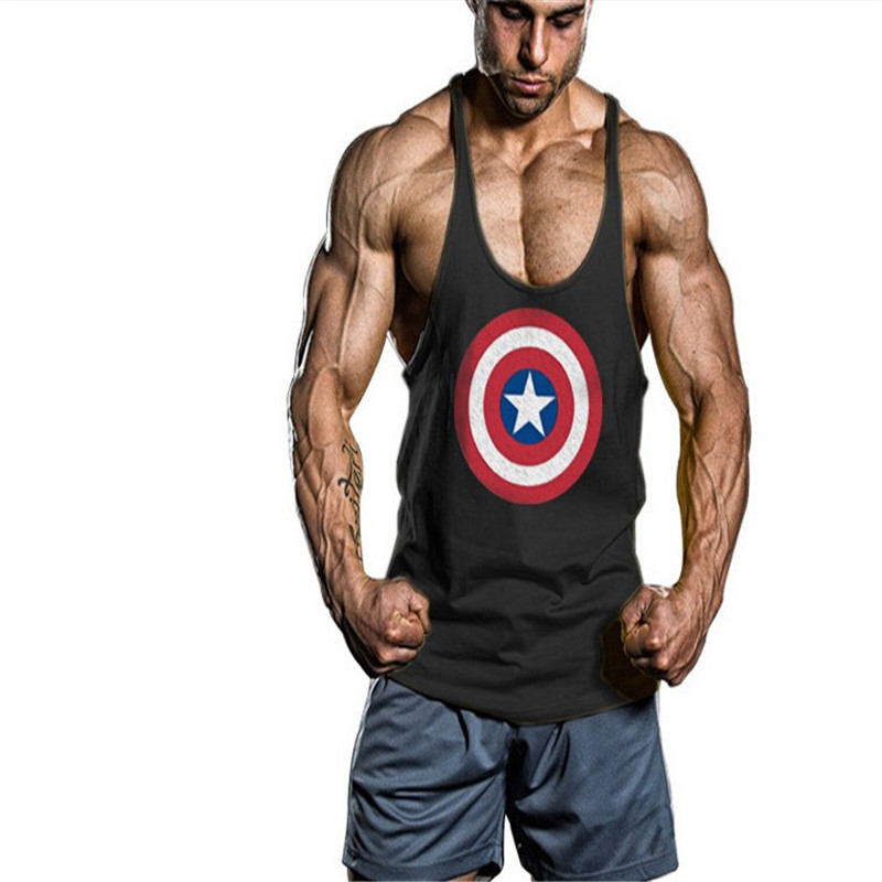 Superman Gym Stringer Tank Top Bodybuilding Clothing and Fitness Mens Sleeveless Shirt Sports Vests Cotton Singlets Muscle Tops(China (Mainland))