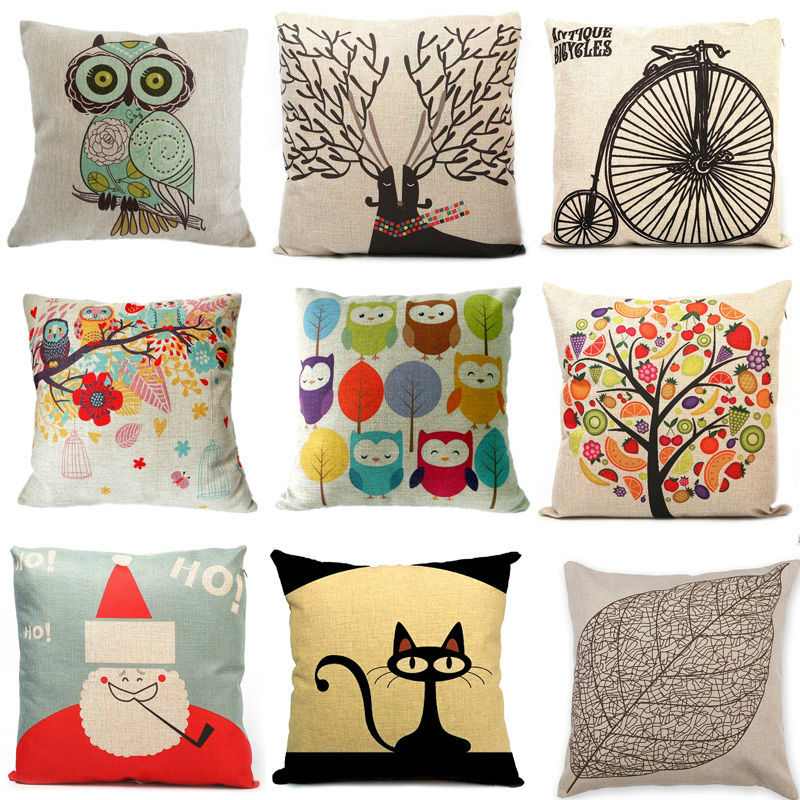 "New Home Decorative Sofa Cushion Cover Throw Pillow Case 18"" Vintage Decorbox Cotton Linen Square Cute Cartoon Owl #ZH131(China (Mainland))"