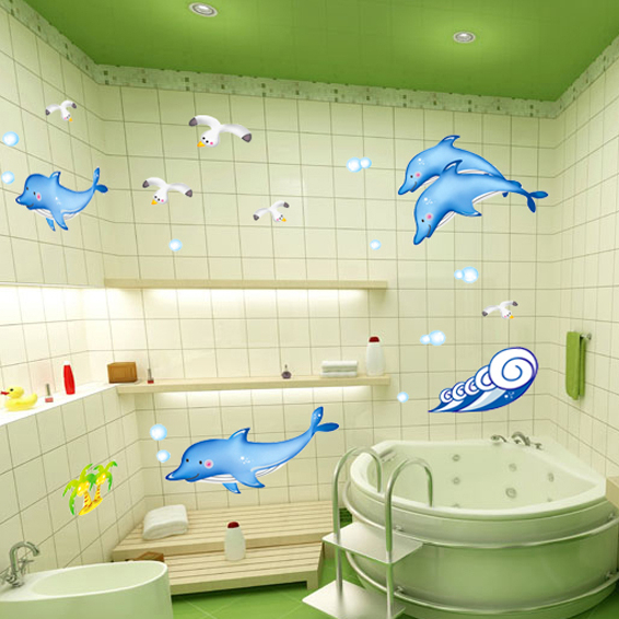 Blue ocean dolphin shark whale wall stickers for kids for Tiles for kids room
