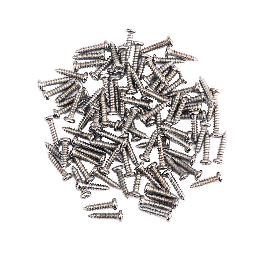 100 Pieces Iron Tuning Peg Tuner Mounting Screws for Guitar Bass Ukulele Mandolin Parts M2.2 Nickel/Black/Golden