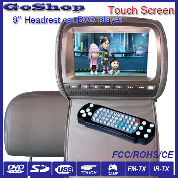 Auto Electronics Grey Color 1x9 inch Back Seat TV For Car With Touch Screen, Digital TV optional, USB,SD,FM,IR headphones(China (Mainland))