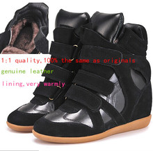 Isabel Marant Women Black Winter Plush Shoes Sneakers Height Increasing 8cm Fashion Sneakers Genuine Leather