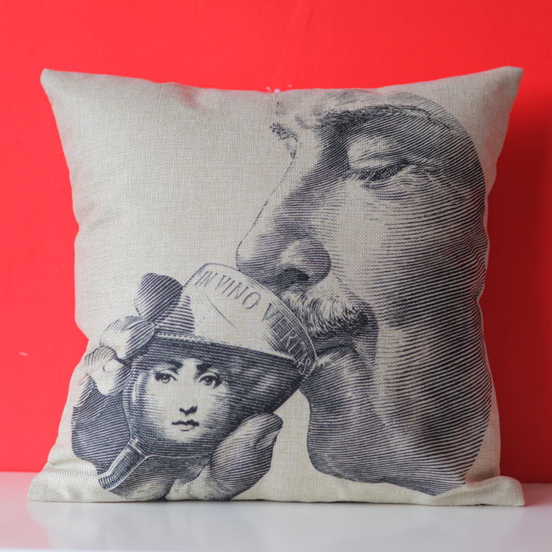 2015 Fornasetti Pillowcase Art Bedroom A Living Room Cushion Bedding Set Fashion Decorative Homepillow cover 18x18Inch