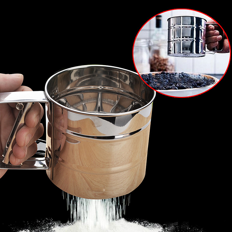 FreeShipping 1 pcs Cup Shape Flour Sieve Stainless Steel Mesh Flour Sifter Mechanical Baking Icing Sugar Shaker Sieve Tool(China (Mainland))