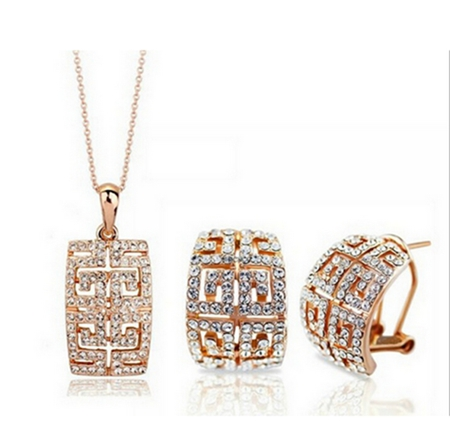 Austrian crystal jewelry sets of luxury alloy high-end European and American style of his wife's gift free shipping(China (Mainland))