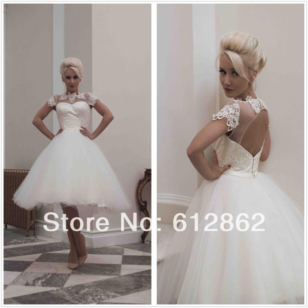 Buy keyhole back short sleeve lace ball for Sexy short wedding dress