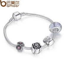 BAMOER Silver Color Charm Bracelet Pulseira with Murano Glass Beads Snake Chain Bracelet for Women Jewelry PA1439(China (Mainland))